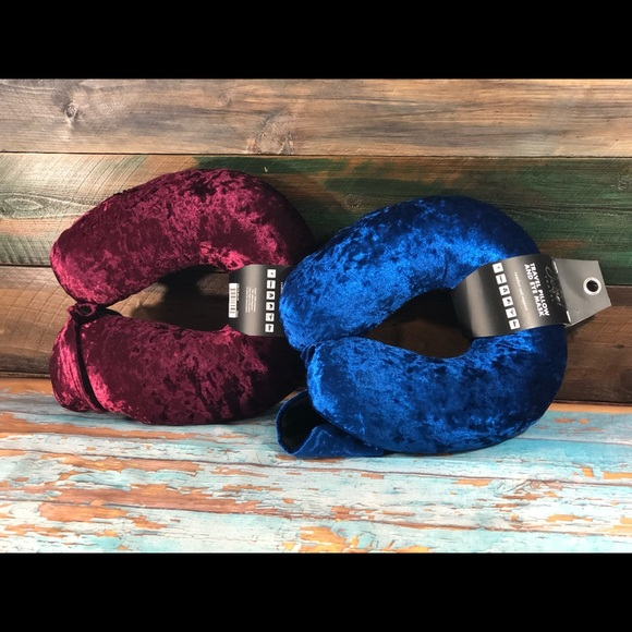 Other - (2) Crushed Velvet Travel Pillows & Eyemasks